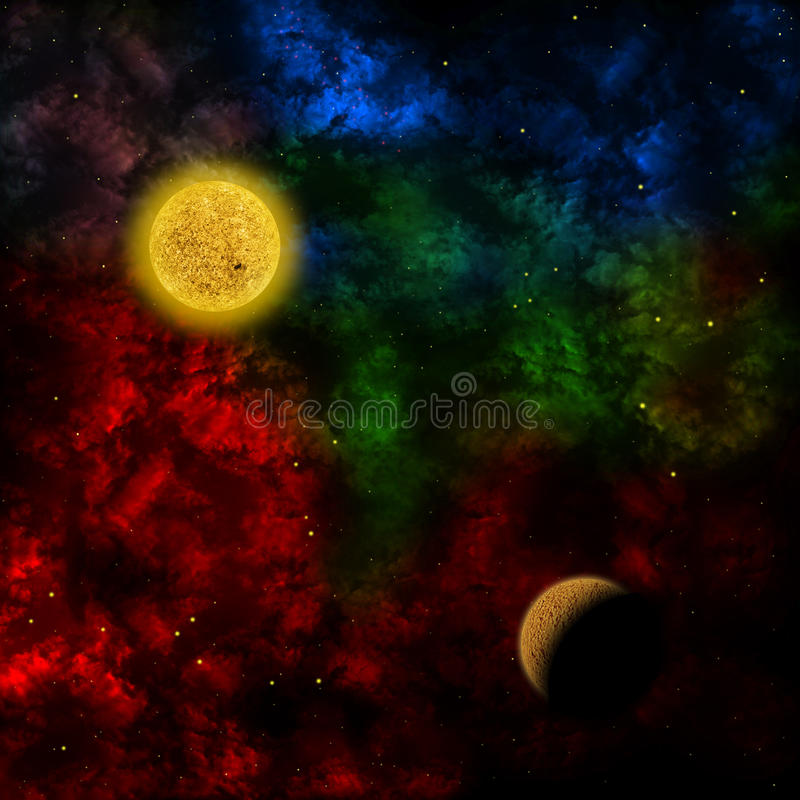 Nebula and the planet in the front royalty free illustration