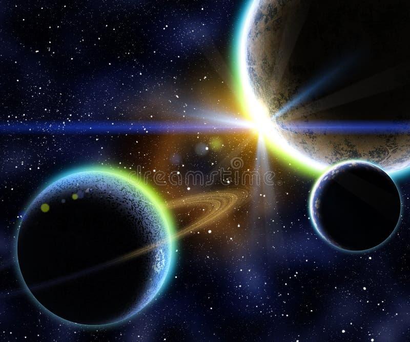 Nebula and planets stock illustration