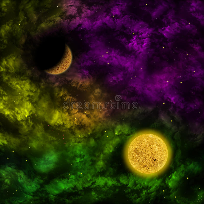 Nebula and the star with planet in the front stock illustration