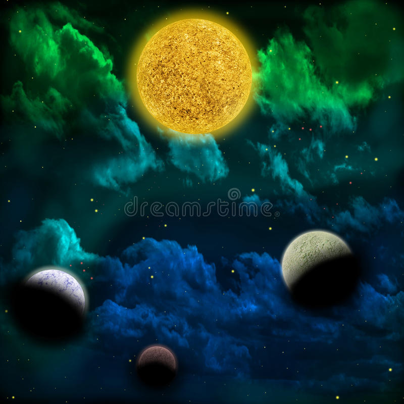 Nebula and the star with planets in the front vector illustration