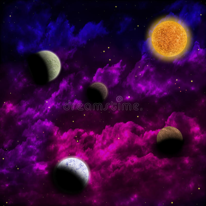 Nebula and the star with planets in the front stock illustration