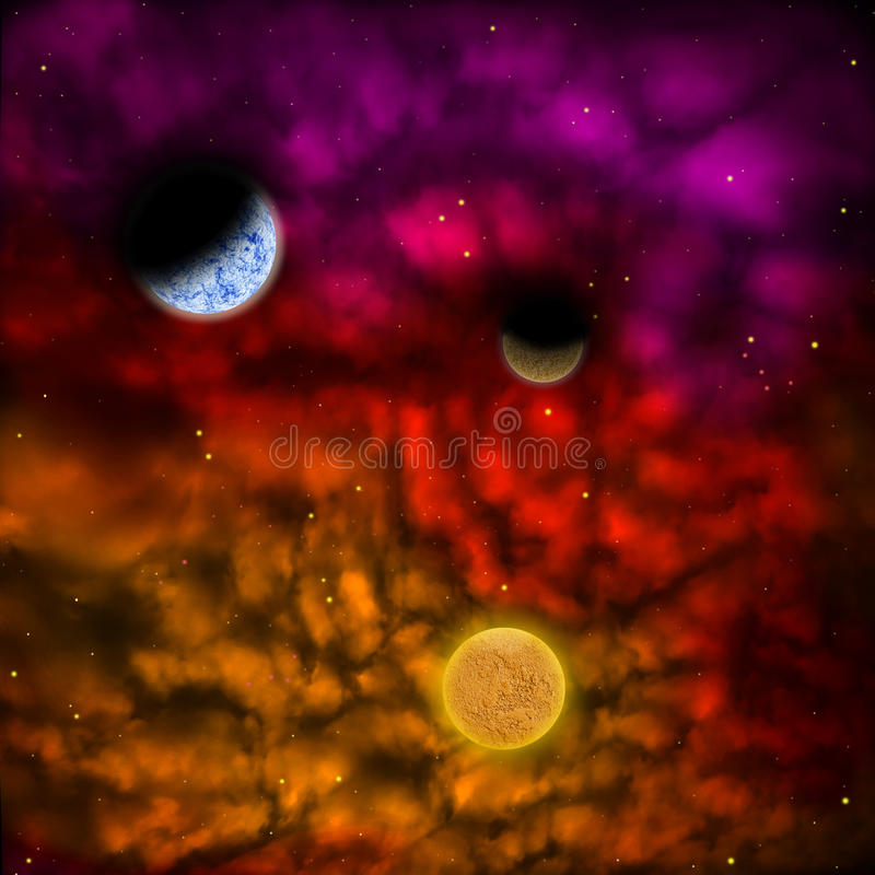 Nebula and the star with planets in the front royalty free illustration