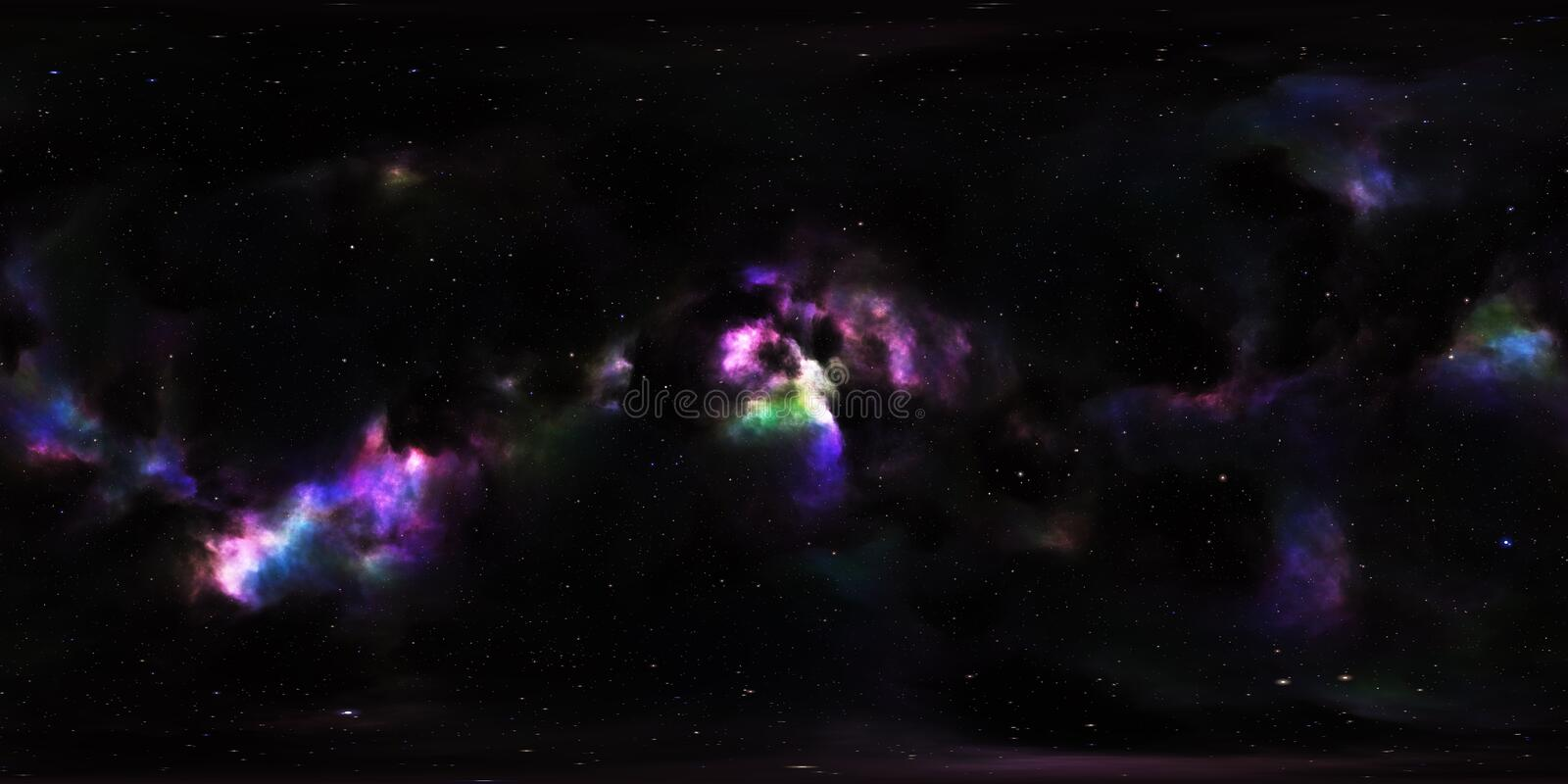 Nebula and Stars in Outer Space 360 Degree Environment Panorama stock illustration