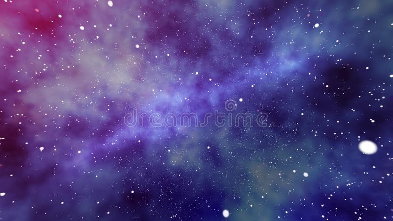 Nebula of Stars and Planets in Universe. A futuristic 3d rendering of a huge nebula of stars and planets in the universe whirling in the purple, blue and black vector illustration