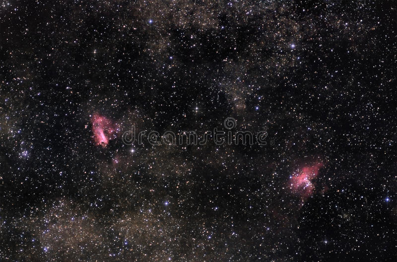 Nebulae of Milky Way stock images