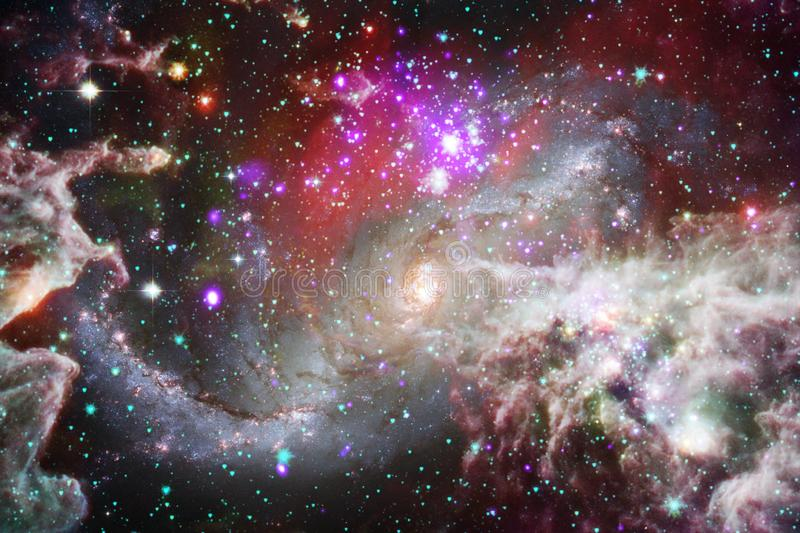 Nebulae and stars in outer space, glowing mysterious universe. Elements of this image furnished by NASA.  stock illustration