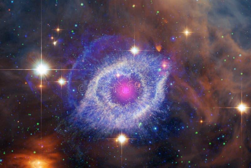 Nebulas, γαλαξίες και αστέρια στην όμορφη σύνθεση Βαθιά διαστημική τέχνη ελεύθερη απεικόνιση δικαιώματος
