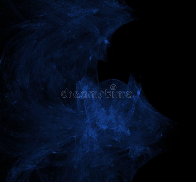 Nebulas blauwe fractal op zwarte achtergrond Digitaal art het 3d teruggeven Computer geproduceerd beeld vector illustratie