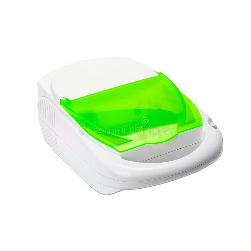 Nebulizer компрессора ингалятора на белой предпосылке стоковая фотография