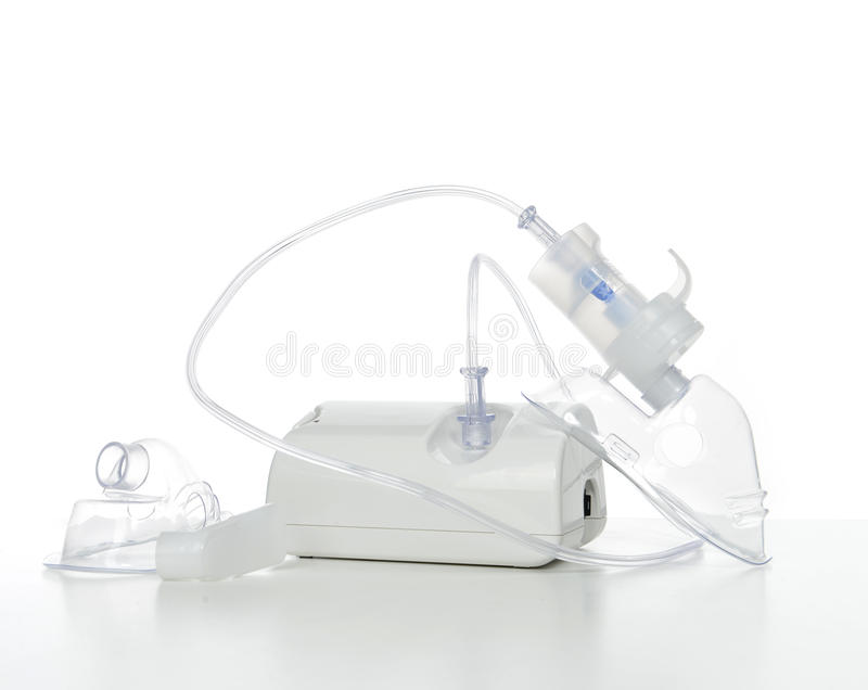 Nebulizer for respiratory inhaler asthma treatment. On a white background stock photos