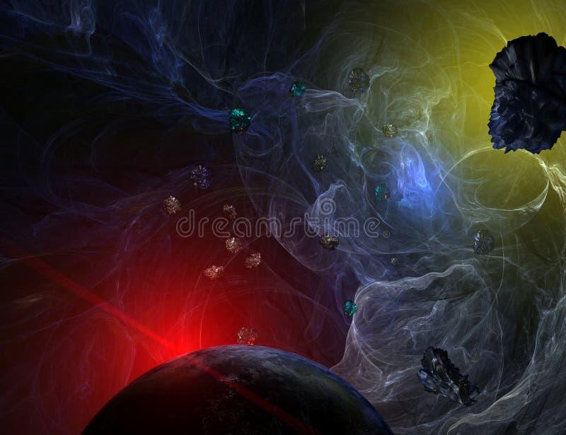 Nebulosa azul com opinião do close up no planeta e no sol ilustração stock