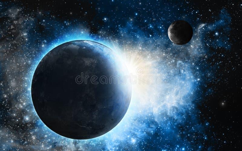 Nebulosa azul com planetas ilustração royalty free