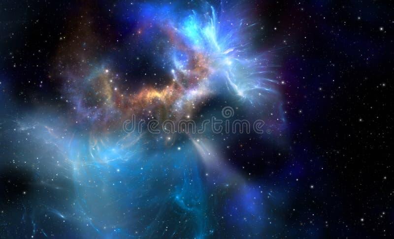 Nebulosa azul do espaço ilustração do vetor