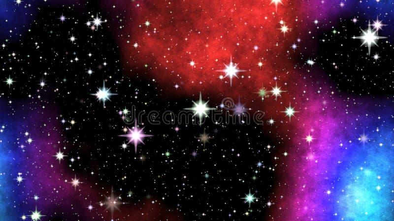 Nebulosa da noite no céu ilustração do vetor