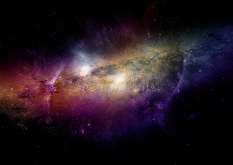 Nebulosa das estrelas, da poeira e do gás em uma galáxia distante ilustração do vetor
