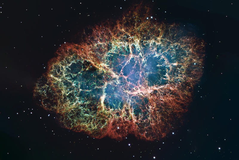Nebulosa de caranguejo no Touro da constelação Estrela de nêutron do pulsar do núcleo da supernova imagem de stock