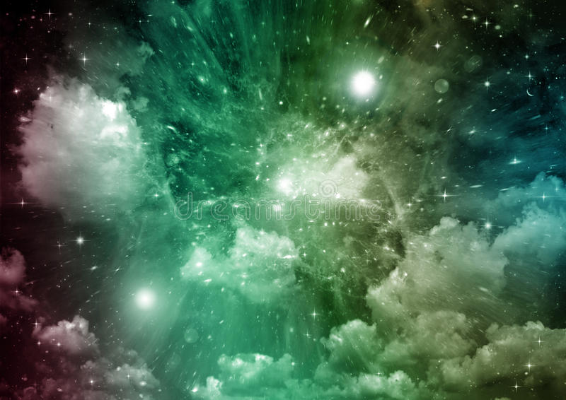 Nebulosa de las estrellas, del polvo y del gas en una galaxia lejana ilustración del vector