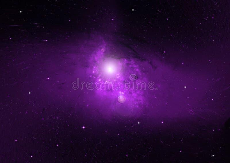 Nebulosa de las estrellas, del polvo y del gas en una galaxia lejana stock de ilustración