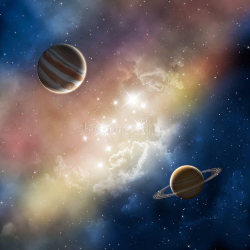 Nebulosa del espacio con los planetas stock de ilustración