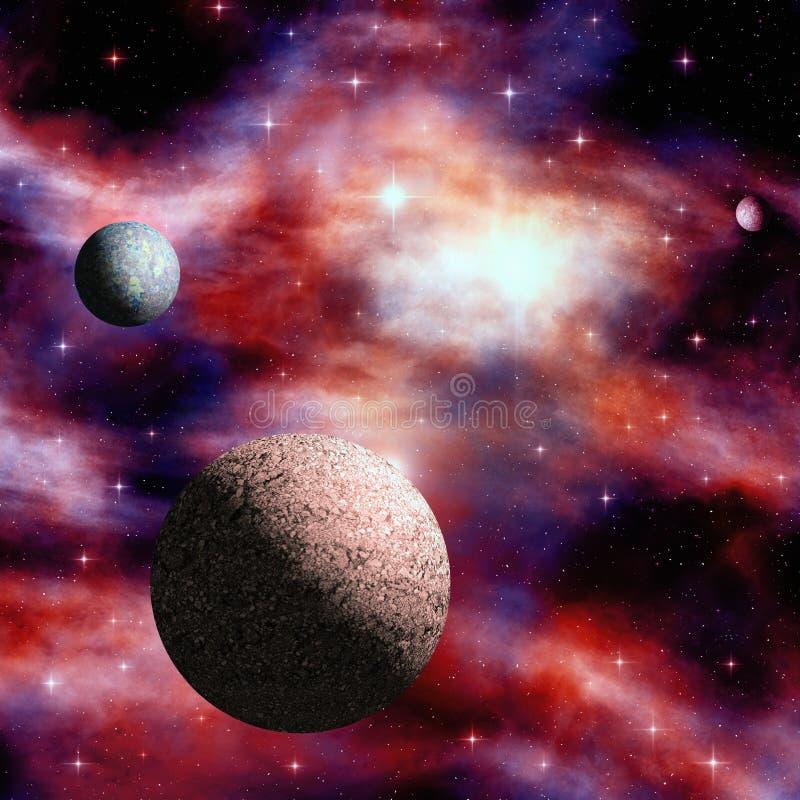 Nebulosa del espacio exterior con las estrellas y los planetas ilustración del vector