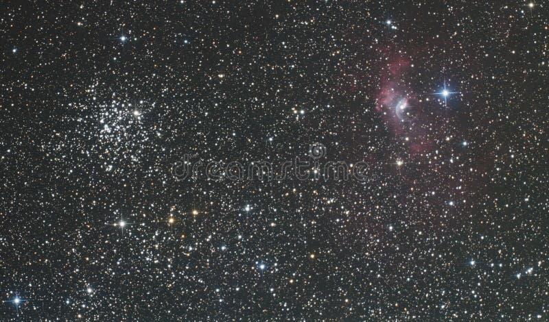 Nebulosa della bolla e di M52 fotografie stock