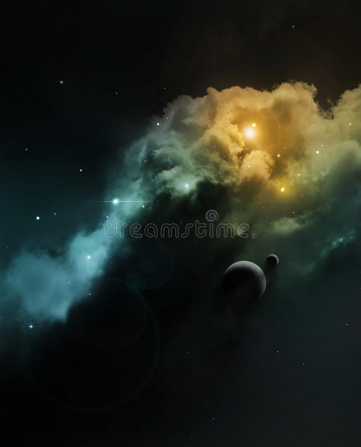 Nebulosa dello spazio profondo di fantasia con il pianeta illustrazione di stock