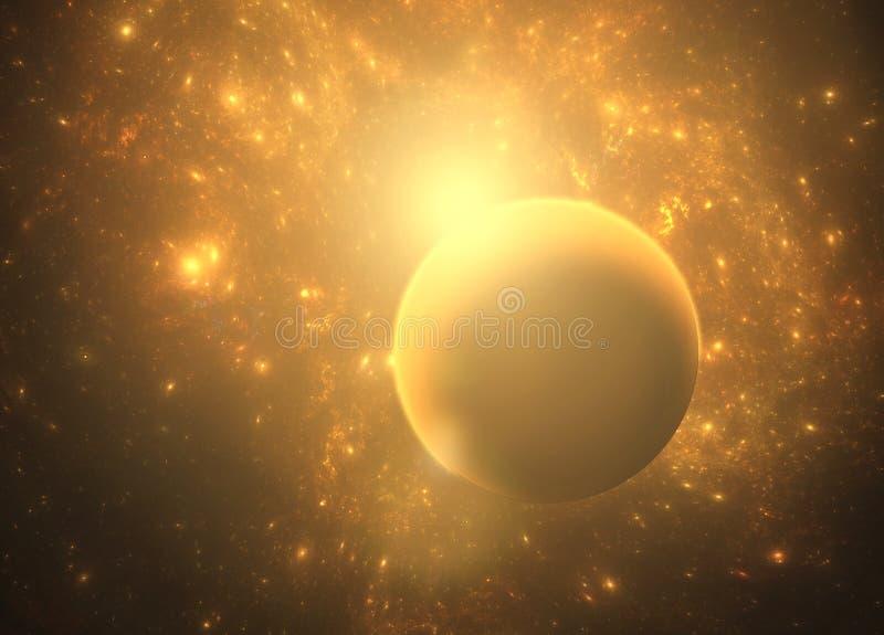 Nebulosa do espaço profundo com planetas fotos de stock royalty free