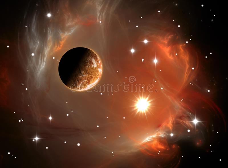 Nebulosa e planeta do espaço ilustração do vetor