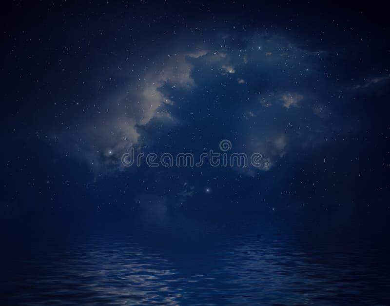 Nebulosa e stelle riflesse in acqua illustrazione di stock