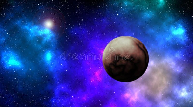 Nebulosa en espacio profundo con la estrella brillante y un planeta imagen de archivo
