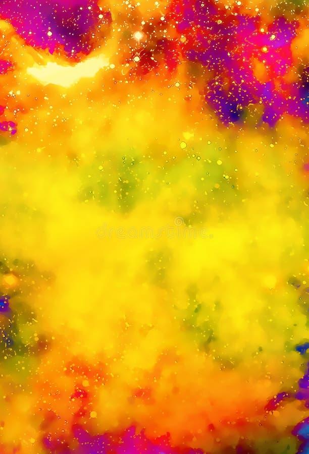 Nebulosa, kosmiskt utrymme och stjärnor, färgbakgrund fractaleffekt Måla effekt Beståndsdelar av detta bild som förbi möbleras royaltyfri illustrationer
