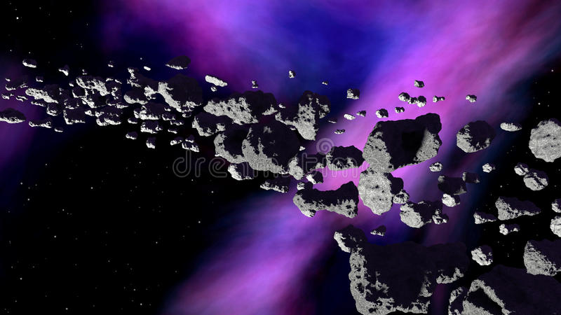 Nebulosa med asteroidbältet vektor illustrationer