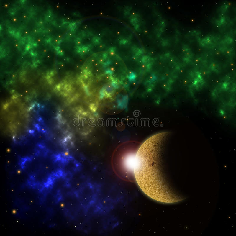 Nebulosa och planeten framtill royaltyfri illustrationer