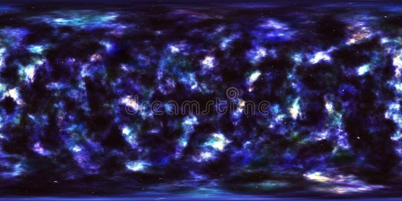 Nebulosa och stjärnor i yttre rymd 360 grad miljöpanorama stock illustrationer