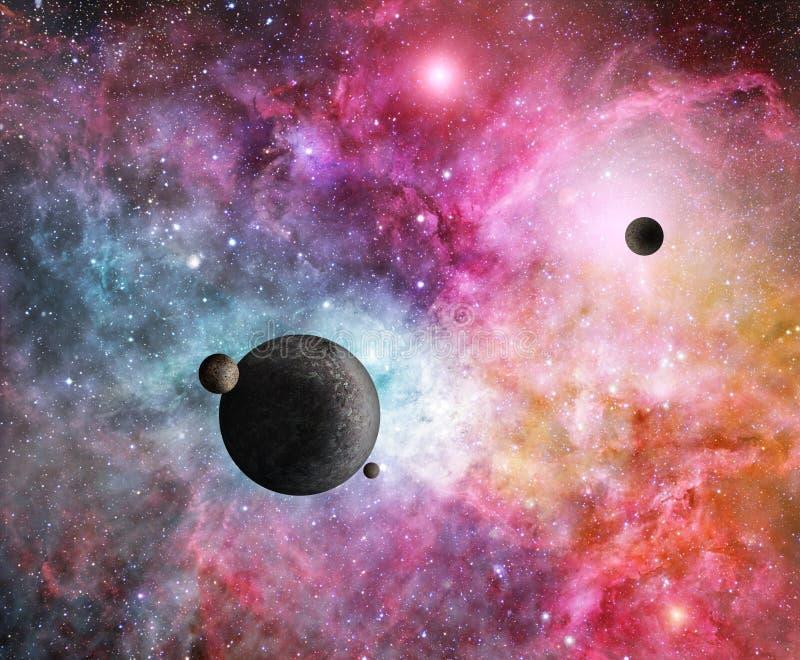Nebulosa rosada con los planetas ilustración del vector