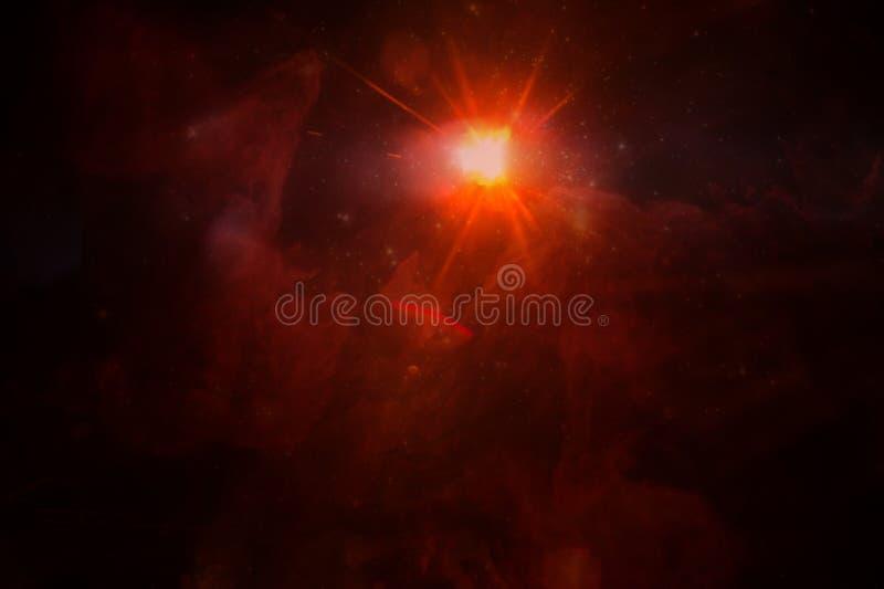 Nebulosa rossa dello spazio, collage immagine stock