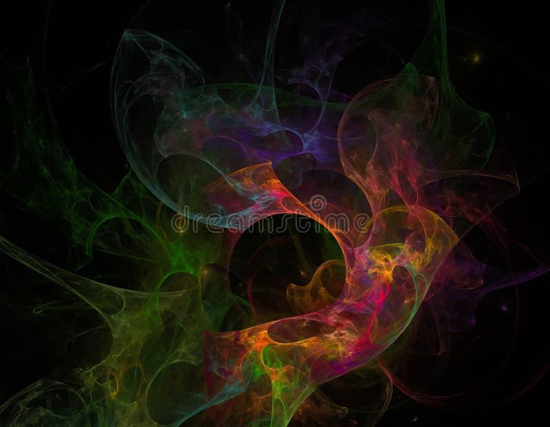 Nebulosa variopinta favolosa fantastica dello spazio di frattale con illustrazione vettoriale