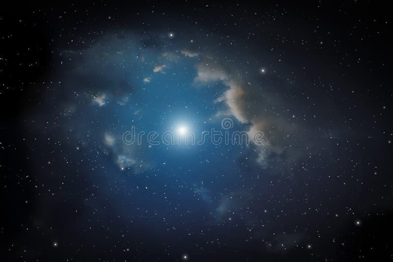 Nebulosa y estrellas stock de ilustración