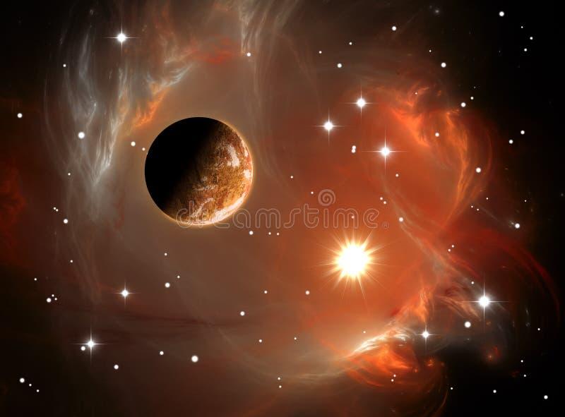 Nebulosa y planeta del espacio ilustración del vector