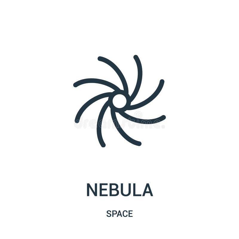 nebulosasymbolsvektor från utrymmesamling Tunn linje illustration för vektor för nebulosaöversiktssymbol stock illustrationer