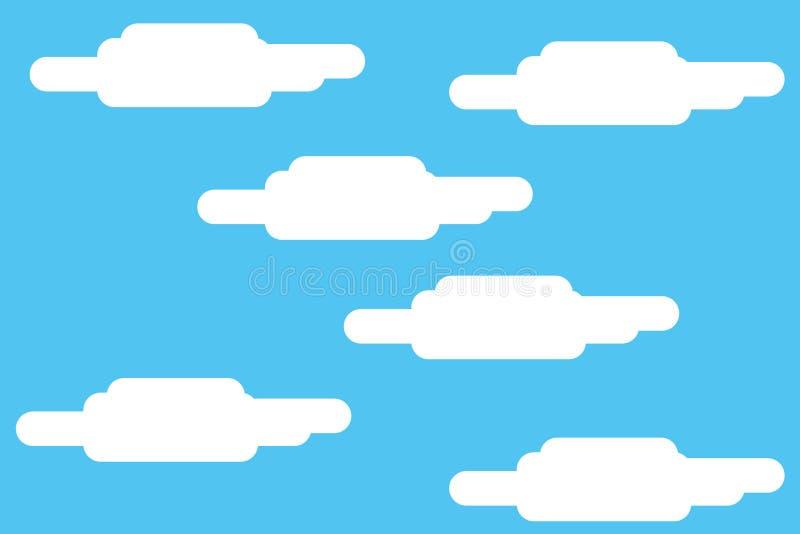 Nebuloso com fundo da foto da paisagem do céu azul Teste padr?o sem emenda com nuvens brancas Projeto futurista Desfazendo-se do  ilustração do vetor