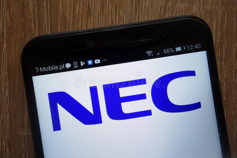 NEC Corporation logo displayed on a modern smartphone. KONSKIE, POLAND - AUGUST 18, 2018: NEC Corporation logo displayed on a modern smartphone stock photos