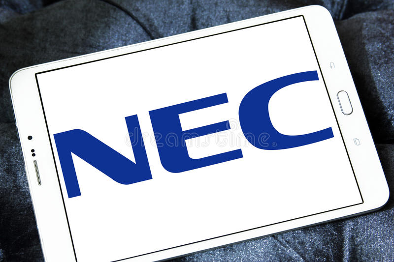 NEC Corporation logo. Logo of NEC Corporation on samsung tablet . NEC Corporation is a Japanese multinational provider of information technology IT services and royalty free stock image