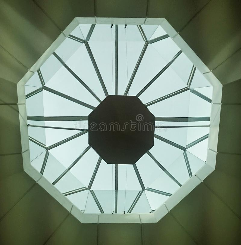 NEC Skylights. Daylight entering the NEC arena through octagonal skylights royalty free stock photo