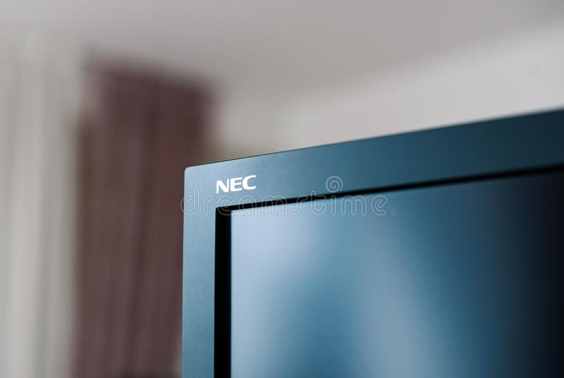 Nec Spectraview Reference 322UHD 4k Professional display. PARIS, FRANCE - JAN 9, 2017: Detail of professional Nec Spectraview Reference 322UHD 4k wide gamut stock image