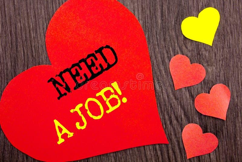 Necesidad de la demostración del texto del aviso de la escritura un trabajo Búsqueda desempleada del trabajador del desempleo del imagen de archivo libre de regalías