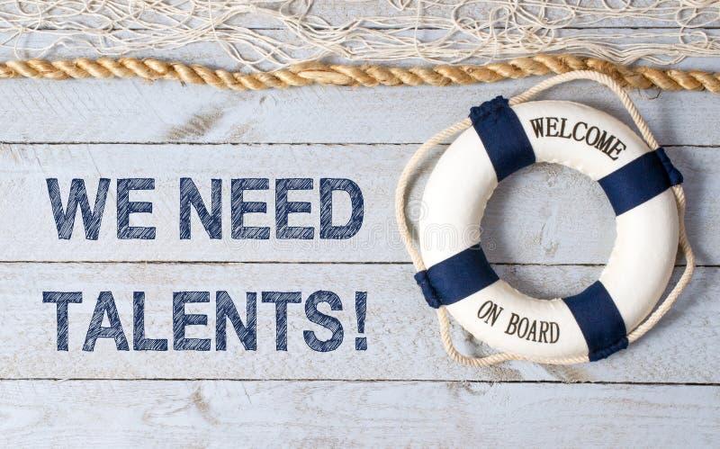 Necesitamos los talentos - recepción a bordo imagen de archivo