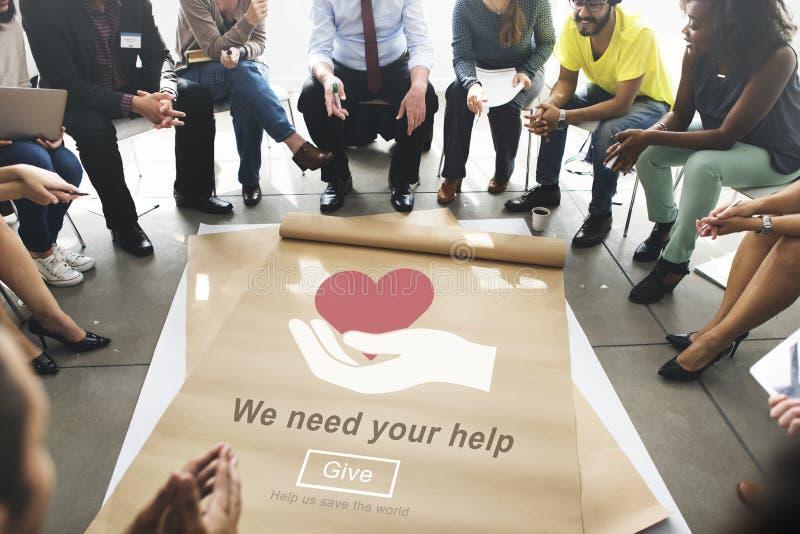 Necesitamos su concepto de la donación del bienestar de la ayuda foto de archivo