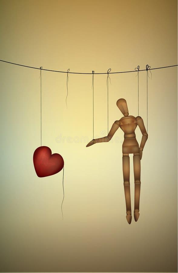 Necesite el concepto del amor, intentos de la marioneta para tomar un corazón grande, serie de la vida de la marioneta, stock de ilustración