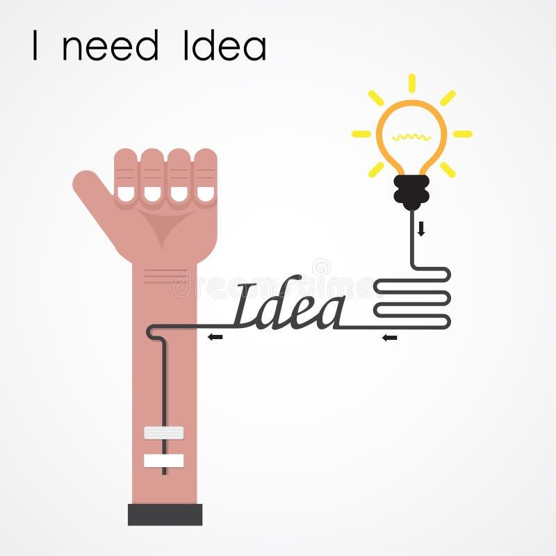 Necesito concepto de la idea Mano del hombre de negocios y bombilla creativa B libre illustration